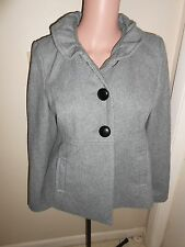 Old Navy Womens S Heather Grey Wool Ruffle Ruched Collar Pea Coat Peacoat Jacket