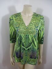 Live and Let Live Multi-Color 3/4 Sleeve Stretch Woman Top Blouse Size M