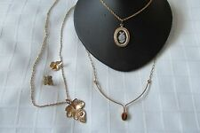 LOT OF THREE NECKLACES,1 PAIR OF EARRINGS /TAIWAN-TIGER EYE/PARKLANE/AVON SET