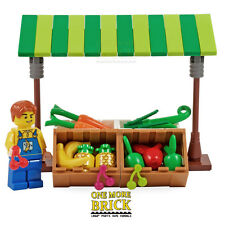 LEGO Market Stall - Fruit & Veg Greengrocer with minifigure. Includes food NEW