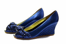 RON WHITE Bow Blue Sequin WEDGE SPARKLE Womens size 35.5 35 1/2 M New $425 Italy