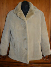 Guess Suede Leather Jacket Medium Button Front Beige Coat Faux Fur Collar Lining