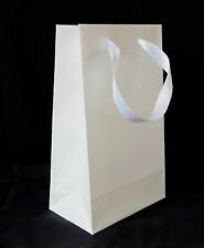 WHOLESALE 50 WHITE PAPER GIFT PARTY BAGS SMALL WEDDING BIRTHDAY SATIN HANDLES