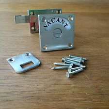 SATIN CHROME VACANT ENGAGED TOILET BATHROOM DOOR LOCK INDICATOR BOLT