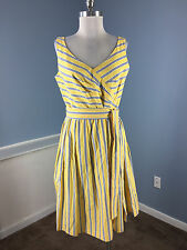 Talbots 10 P Yellow Blue Stripe Dress Fit Flare Excellent Career Cocktail Cotton