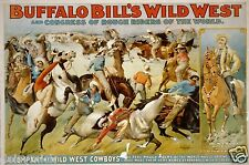 Buffalo Bill's Wild West Show 1899 Vintage Poster 12x8 Inch Reprint USA Cowboys