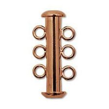 EIGHT (8) Copper-Plated Tube Clasps - THREE STRAND SLIDE LOCK
