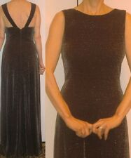80s EN FRANCAIS SHIMMERING LUREX DARK BROWN EVE HOLIDAY LONG DRESS GOWN XS 2 3 4