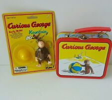 Curious George Keychain w/ Big Yellow Hat & Mini Metal Lunchbox Lot