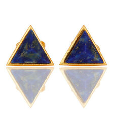 Gemstone Pyramid Little Studs Brass Earrings 18k Gold Plated Fashion Jewelry