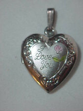 Sterling Silver  Pendant Heart Locket with  Rose &  I Love You  Marked 925