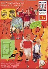 Arsenal v Liverpool 11 Aug 2002 FA COMMUNITY SHIELD in CARDIFF FOOTBALL PROG