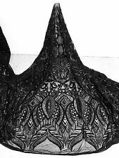 """BLACK STRETCH MESH W/ SEQUINS EMBROIDERY LACE FABRIC 52"""" WIDE 1 YARD"""