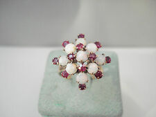 VINTAGE 14K YELLOW GOLD OPAL & RUBY COCKTAIL RING SIZE 9.75