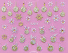 Christmas SILVER GOLD Snowflakes Baubles Rhinestones 3D Nail Art Stickers Decals