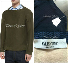 NEW Valentino Mainline Men Chunky Knit Navy Sweater Jumper Camel Cuff Pullover