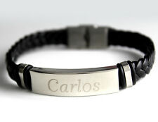 CARLOS - Bracelet With Name - Leather Braided Engraved - Gifts For Him