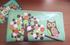 SHAGWEAR WRISTLET COSMETIC CASE RETRO OWL TEAL NEW WITH TAGS