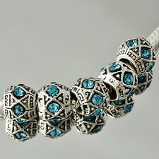 5pcs Gold Plated Blue Crystal large hole charming Beads fit european bracelet
