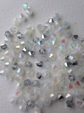 100 Austrian Crystal Bicone Beads Jewellery/Tiaras - White/Silver Mix AB - 4mm