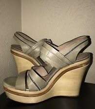 ~ CHLOE  LEATHER WOODEN PLATFORM WEDGES / HEELS (SO GOOD!)  38