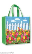 Colorful Tulip Flower Garden Picket Fence Tote Shopping Bag