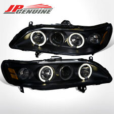 98-02 Honda Accord 2/4D Dual Angel Eye Halo Projector Headlights Lamp Pair Black