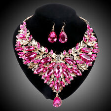Women Gold Plated Pink Rhinestone Crystal Pendant Necklace Earring Jewelry Sets