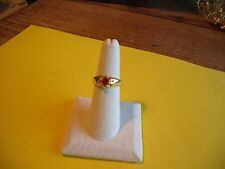 New Gold Plated Size 6 CZ Solitaire Red Rhinestone Ring Band