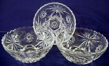 3 Vintage Anchor Hocking Glass Salad Bowls Prescut Star of David Fruit EAPC