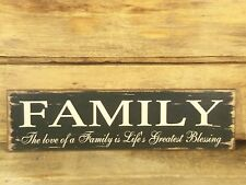 Family Blessings Primitive Wood Sign Rustic Country 11 x 3 Distressed