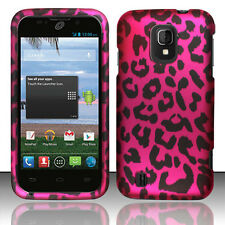 Straight Talk ZTE Majesty 796C Rubberized HARD Case Phone Cover Hot Pink Leopard