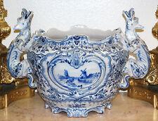 Delft Dutch Blue & White Painted Porcelain Dragon Large Center-Piece Cache Pot
