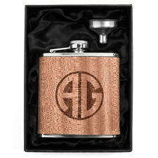 Monogram Engraved 6oz Real Wood Wrap Hip Flask & Funnel Gift Set Personalized