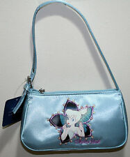 NEW Disney Tinker Bell Peter Pan Blue Satin Handbag Purse Bag Flower Faux Beads