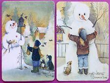 PAIR SWAP CARDS. SNOWMAN WINTER CHRISTMAS SCENES. ARTIST PAT RICHTER. c2003.MINT