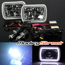 8000K HI-LOW HID/7x6 H6052/H6054 WHITE SMD HALO RING GLASS CRYSTAL HEADLIGHTS