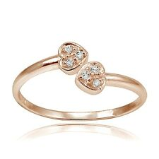 Rose Gold Tone Over Sterling Silver CZ Double Heart Toe Ring