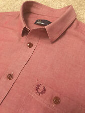 GORGEOUS FRED PERRY WINE RED ORGANIC COTTON SHIRT M MEDIUM COST £80