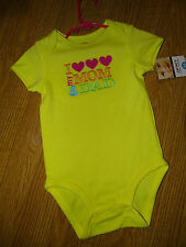 CARTER'S WIGGLE-IN- BODYSUIT ONE PIECE I HEART MY MOM AND DAD YELLOW 24 MONTHS