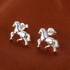 1Pair Fashion Silver Tone Mini Animal Horse Ear Stud Earrings Women Lady Jewelry