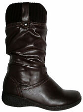 LADIES COTTON TRADERS BROWN PULL ON CALF BOOT WITH SOCK TOP IN SIZE 6
