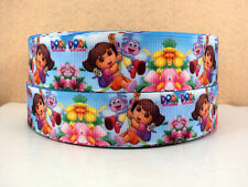 1 METRE NEW DORA THE EXPLORER RIBBON SIZE 1 INCH BOWS HEADBANDS HAIR CLIPS CAKE