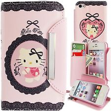 Cute Pink Hello Kitty PU Leather Lace Print Wallet Case for iPhone 4 4S Cover