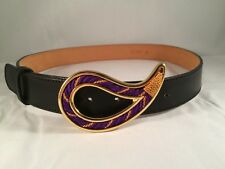 Etro Black Leather Paisley Brass Buckle Purple Gold Weave Belt Sz 85 Euro Italy