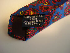 "NWT GAP cotton tie bright blue field with red gold green paisley, 56"" x 3.5"" exc"
