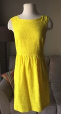J. Crew Lucille Yellow Lace Dress Floral Size 4 Pockets Blogger Favorite