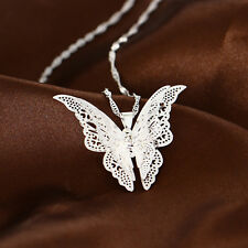 Women Fashion Charm Silver Plated Butterfly Chain Pendant Necklace Jewelry New