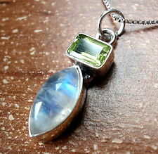 Faceted Peridot Baguette Moonstone Marquise Necklace 925 Sterling Silver New