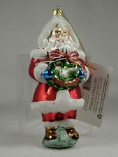 Possible Dreams Clothtique 'Peace On Earth' Santa Glass Ornament  #805425  NEW